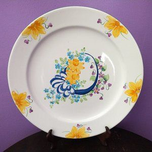 Herend Hungarian Village Pottery Daffodil Platter